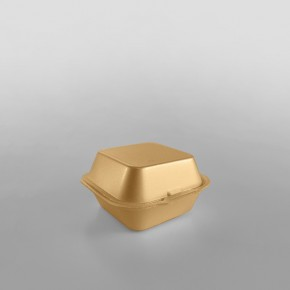 Linpac 'MP1' Champagne Colour Polystyrene Container (Single Burger)