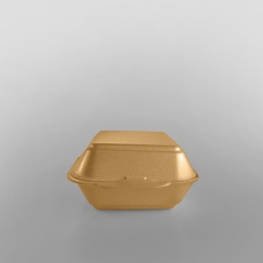 Linpac 'HP6' Champagne Colour Polystyrene Container (Quarter Pounder)