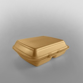 Linpac 'HP4/2' Champagne Colour 2 Compartment Polystyrene Meal Box