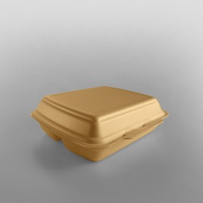 Linpac 'HP4/3'Champagne Colour 3 Compartment Polystyrene Meal Box