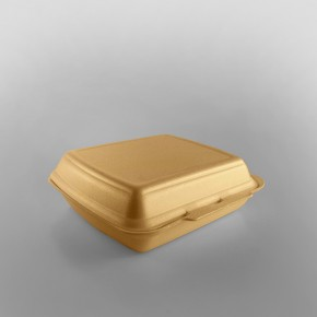 Linpac 'HP4' Champagne Colour 1 Compartment Polystyrene Meal Box
