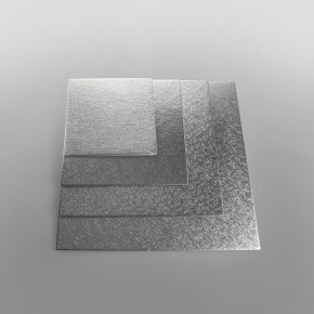 Cake Card Silver Square Single Thick