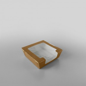 Hinged Laminated Kraft Food Box With Window
