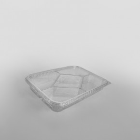 Somoplast 5 Compartment Clear Hinged Rectangular Container