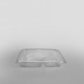 Somoplast 3 Compartment Clear Hinged Small Rectangular Container