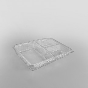 Somoplast 3 Compartment Clear Hinged Large Rectangular Container