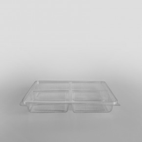 Somoplast 4 Compartment Clear Hinged Rectangular Container