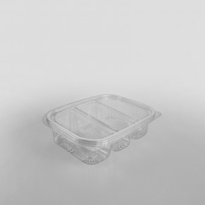 Somoplast 3 Compartment Clear Hinged Oval Container