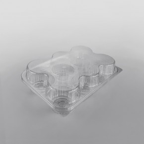 Somoplast Hinged Clear Muffin Container [6 Muffins x 80mm Diameter]