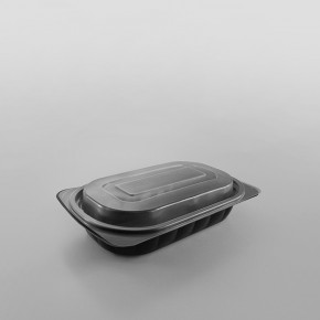 Somoplast Microwavable Lid For Large Oval Black Microwavable Take Away Container - 750cc