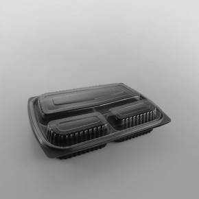 Somoplast Clear 3comp Microwavable Lid For Black 3 Compartment Microwavable Take Away Container Alternative Design [1000cc]