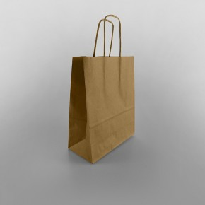 Ribbed Kraft Twisted Handle Paper Bag