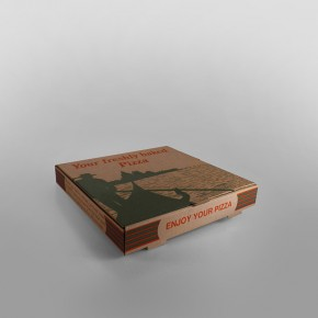Pizza Box Brown Printed [12inch]