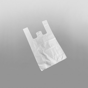 White Heavyweight Plastic Vest Carrier Bag XL [13x20x23inch]