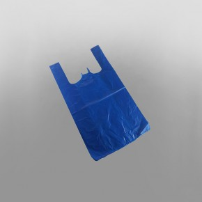 Blue Plastic Carrier Bag Medium  [11x17x21inch]
