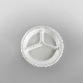 Linpac Polystyrene White 3 Compartment Plate