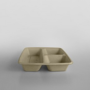 Sabert 3 Compartment Large Square Pulp Container [900ml][500ml,200ml,200ml Split]