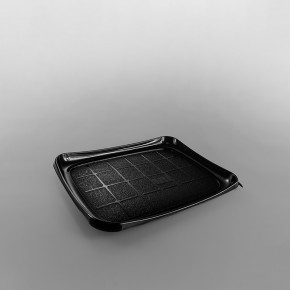 GPI Snackipack Black Plastic Rectangular Tray