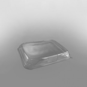 GPI Snackipack Plastic Rectangular Tray Clear Lid